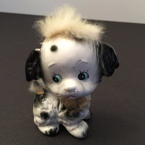 Vintage Mid Century Ceramic Dog Furry Head Tail